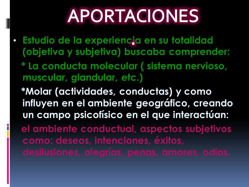 Estudio de la experiencia en su totalidad (objetiva y subjetiva) buscaba comprender: * La conducta molecular ( sistema nervioso, muscular, glandular,