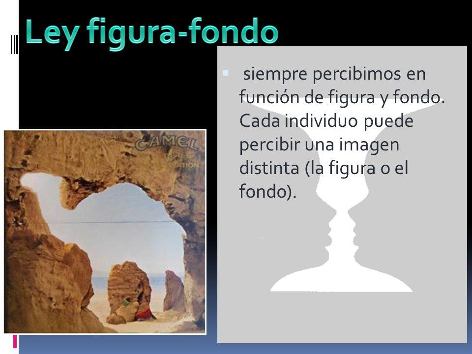 siempre percibimos en función de figura y fondo. Cada individuo puede percibir una imagen distinta (la figura o el fondo).