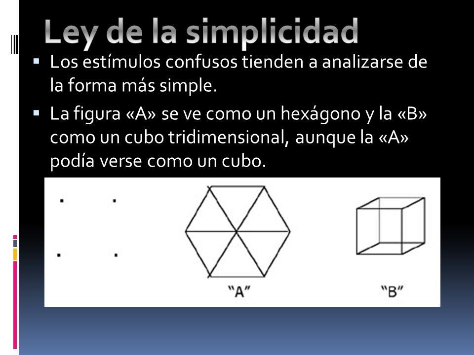 Los estímulos confusos tienden a analizarse de la forma más simple. La figura «A» se ve como un hexágono y la «B» como un cubo tridimensional, aunque