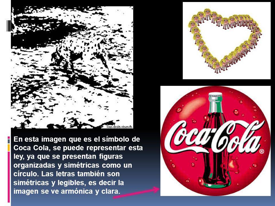 En esta imagen que es el símbolo de Coca Cola, se puede representar esta ley, ya que se presentan figuras organizadas y simétricas como un círculo. La