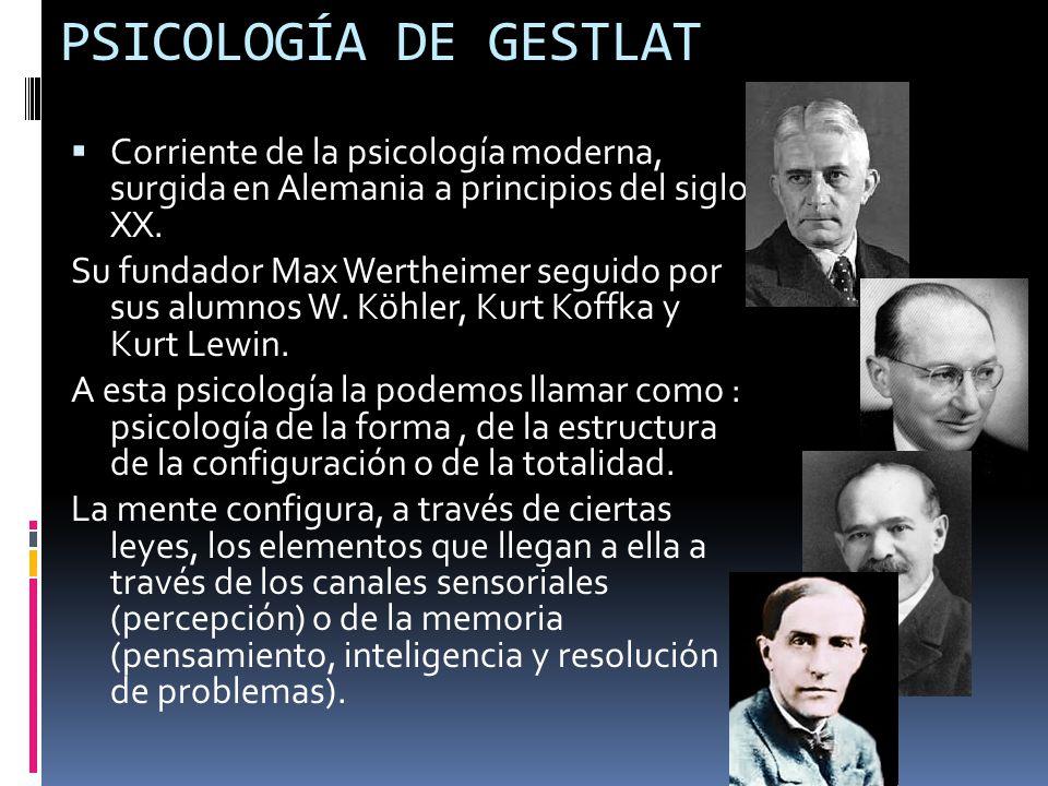 PSICOLOGÍA DE GESTLAT Corriente de la psicología moderna, surgida en Alemania a principios del siglo XX. Su fundador Max Wertheimer seguido por sus al