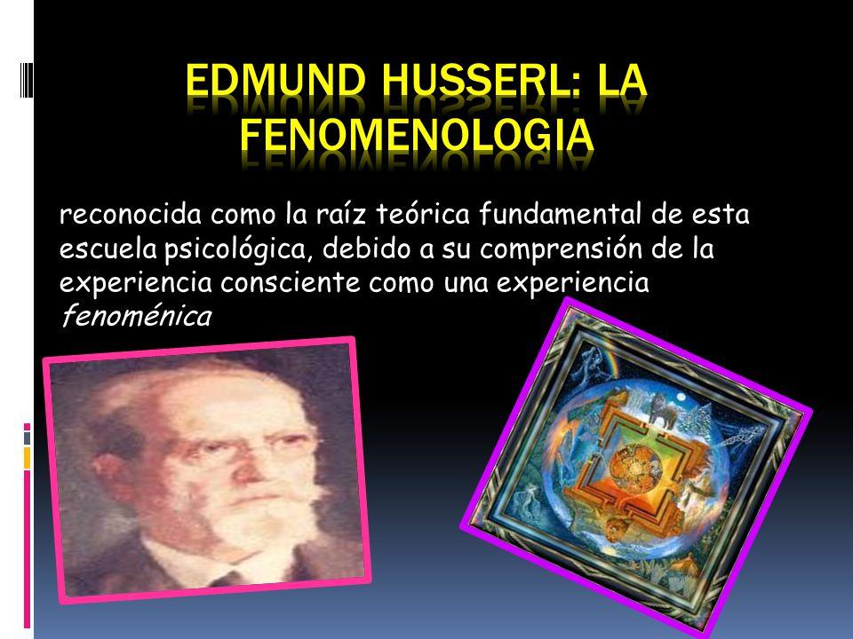 reconocida como la raíz teórica fundamental de esta escuela psicológica, debido a su comprensión de la experiencia consciente como una experiencia fen