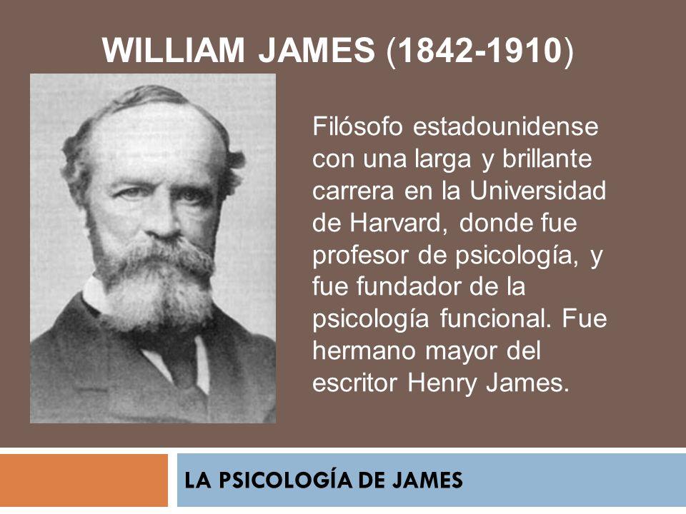 LA PSICOLOGÍA DE JAMES WILLIAM JAMES (1842-1910) Filósofo estadounidense con una larga y brillante carrera en la Universidad de Harvard, donde fue pro