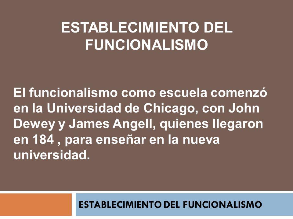 ESTABLECIMIENTO DEL FUNCIONALISMO El funcionalismo como escuela comenzó en la Universidad de Chicago, con John Dewey y James Angell, quienes llegaron