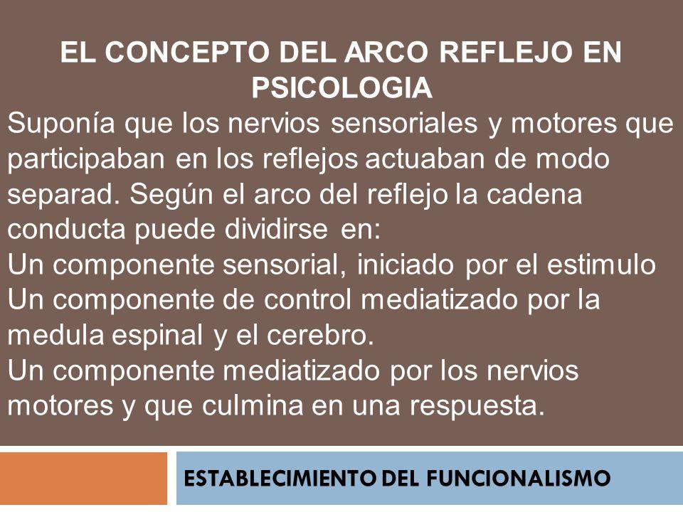 ESTABLECIMIENTO DEL FUNCIONALISMO EL CONCEPTO DEL ARCO REFLEJO EN PSICOLOGIA Suponía que los nervios sensoriales y motores que participaban en los ref