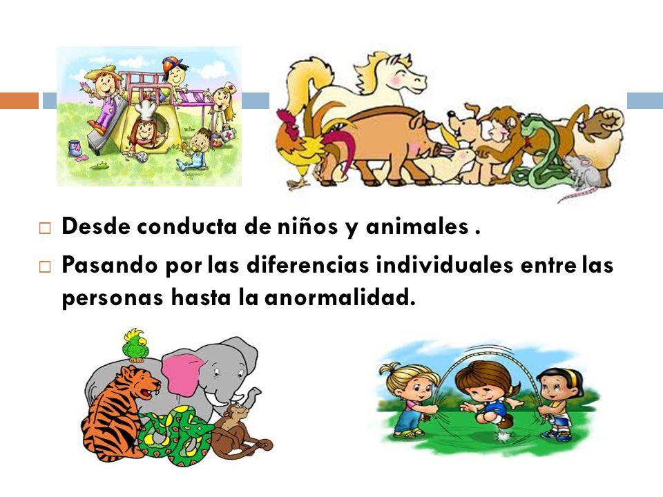 Desde conducta de niños y animales. Pasando por las diferencias individuales entre las personas hasta la anormalidad.