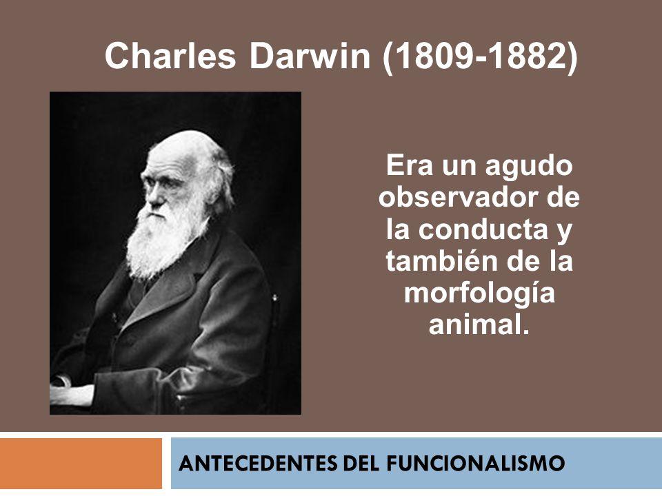 ANTECEDENTES DEL FUNCIONALISMO Charles Darwin (1809-1882) Era un agudo observador de la conducta y también de la morfología animal.