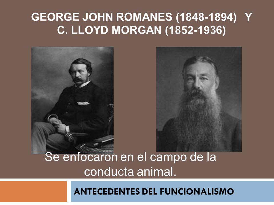 ANTECEDENTES DEL FUNCIONALISMO GEORGE JOHN ROMANES (1848-1894) Y C. LLOYD MORGAN (1852-1936) Se enfocaron en el campo de la conducta animal.