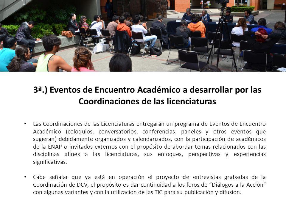 Las Coordinaciones de las Licenciaturas entregarán un programa de Eventos de Encuentro Académico (coloquios, conversatorios, conferencias, paneles y o