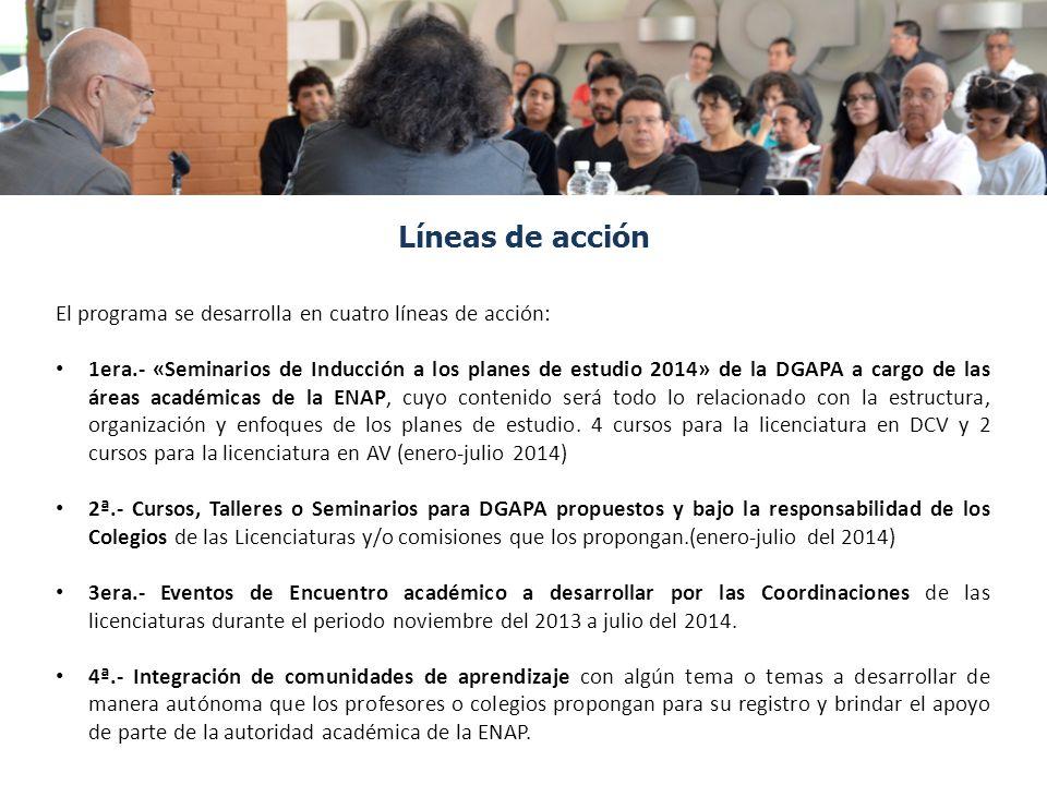 El programa se desarrolla en cuatro líneas de acción: 1era.- «Seminarios de Inducción a los planes de estudio 2014» de la DGAPA a cargo de las áreas a