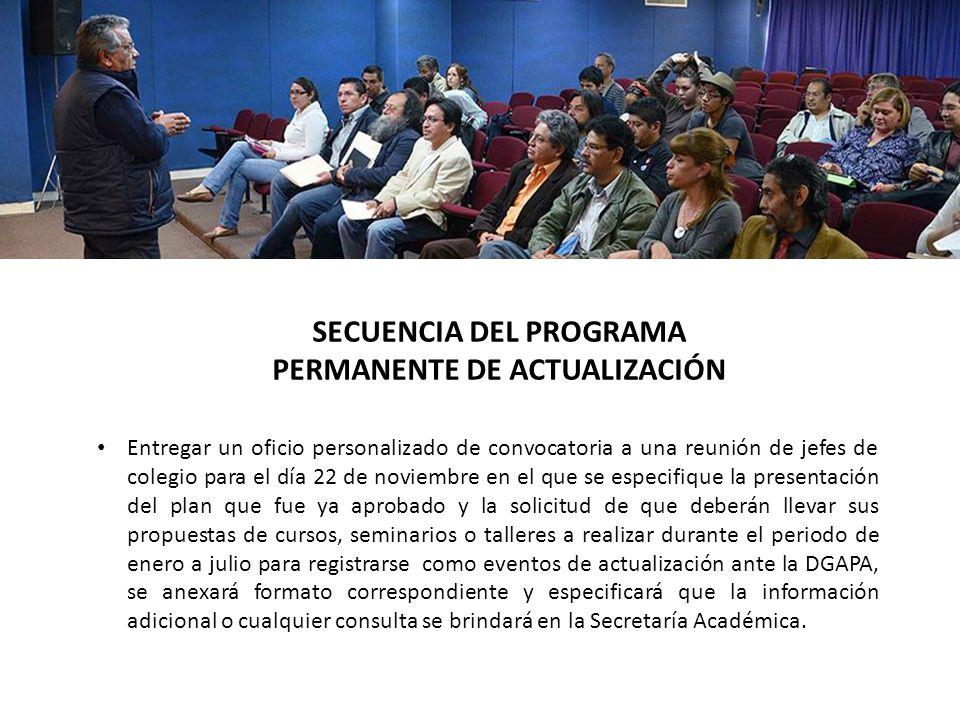 Preparar la reunión con la presentación del Power Point del plan de estudios respectivo y con la propuesta de Programa Permanente de actualización y la explicación en forma ejecutiva de las siguientes cuatro líneas de acción: SECUENCIA DEL PROGRAMA PERMANENTE DE ACTUALIZACIÓN