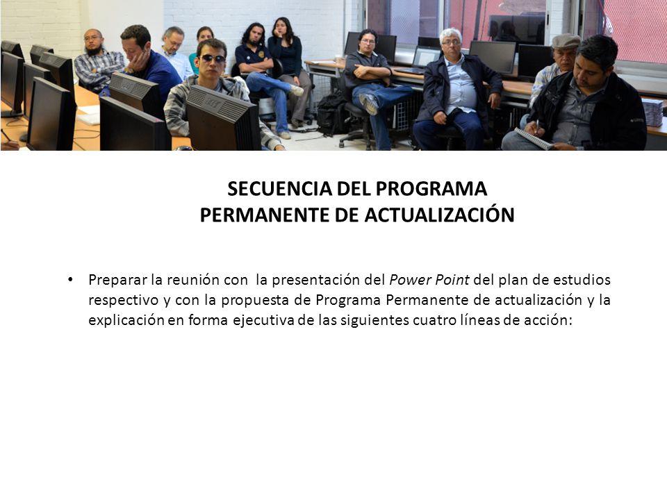 Preparar la reunión con la presentación del Power Point del plan de estudios respectivo y con la propuesta de Programa Permanente de actualización y l