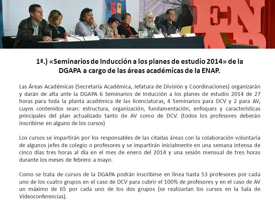 Las Áreas Académicas (Secretaría Académica, Jefatura de División y Coordinaciones) organizarán y darán de alta ante la DGAPA 6 Seminarios de Inducción