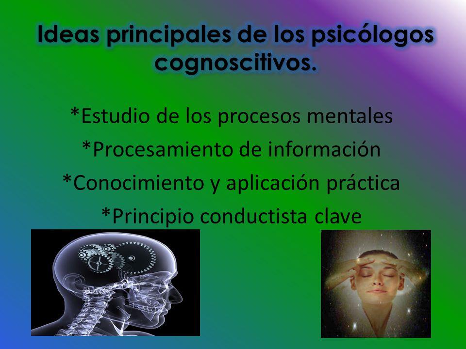 *Estudio de los procesos mentales *Procesamiento de información *Conocimiento y aplicación práctica *Principio conductista clave