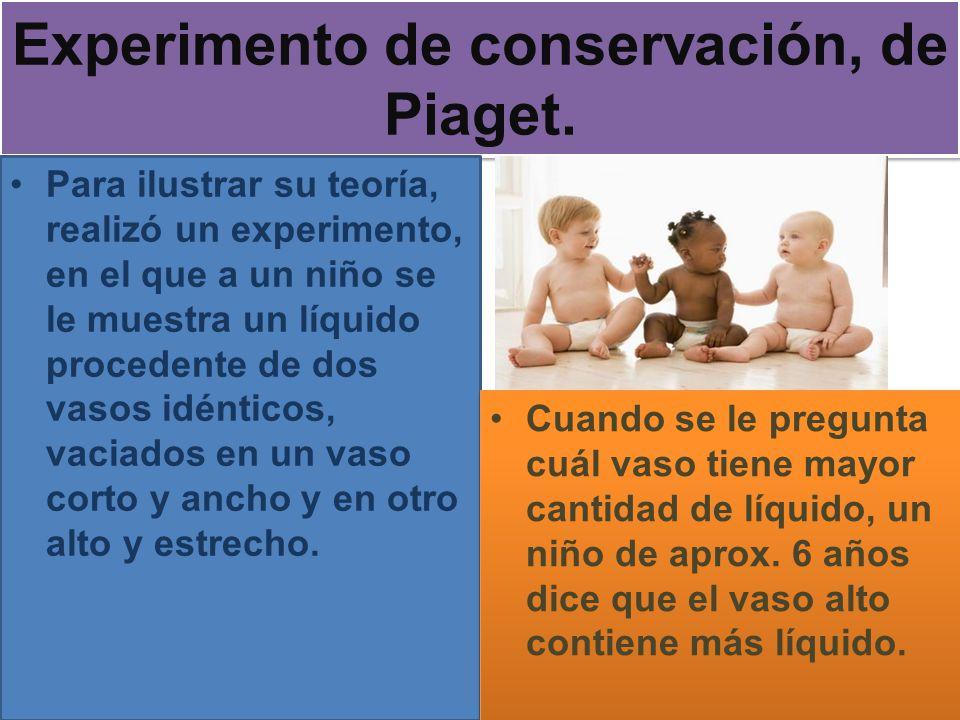 Experimento de conservación, de Piaget. Para ilustrar su teoría, realizó un experimento, en el que a un niño se le muestra un líquido procedente de do