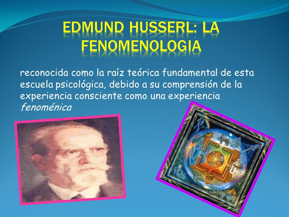 reconocida como la raíz teórica fundamental de esta escuela psicológica, debido a su comprensión de la experiencia consciente como una experiencia fenoménica