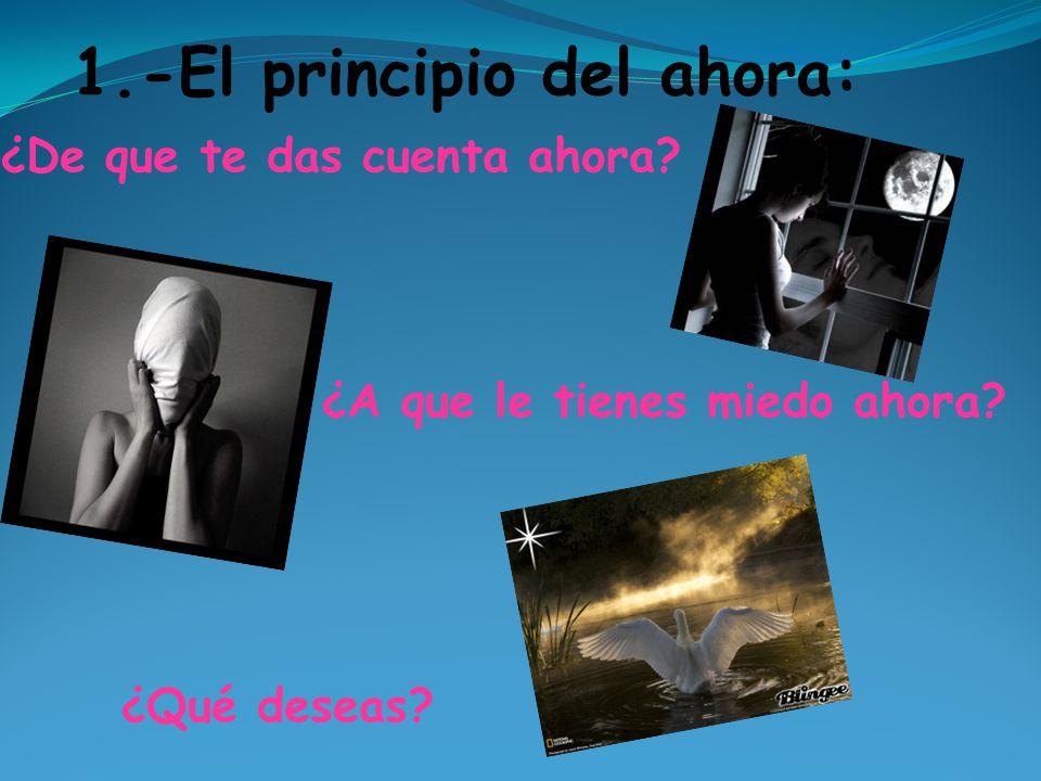 1.-El principio del ahora: ¿De que te das cuenta ahora? ¿A que le tienes miedo ahora? ¿Qué deseas?