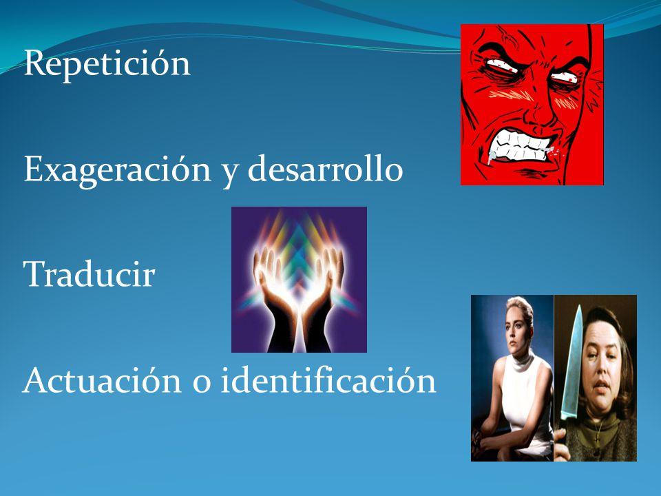 Repetición Exageración y desarrollo Traducir Actuación o identificación