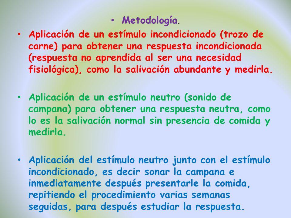 Metodología. Aplicación de un estímulo incondicionado (trozo de carne) para obtener una respuesta incondicionada (respuesta no aprendida al ser una ne