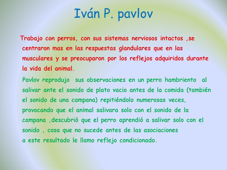 Iván P. pavlov Trabajo con perros, con sus sistemas nerviosos intactos,se centraron mas en las respuestas glandulares que en las musculares y se preoc