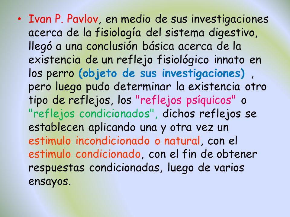 Ivan P. Pavlov, en medio de sus investigaciones acerca de la fisiología del sistema digestivo, llegó a una conclusión básica acerca de la existencia d