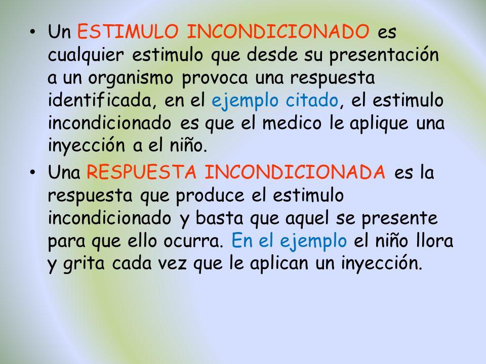 Un ESTIMULO INCONDICIONADO es cualquier estimulo que desde su presentación a un organismo provoca una respuesta identificada, en el ejemplo citado, el
