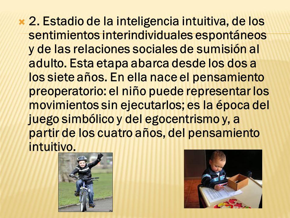 2. Estadio de la inteligencia intuitiva, de los sentimientos interindividuales espontáneos y de las relaciones sociales de sumisión al adulto. Esta et