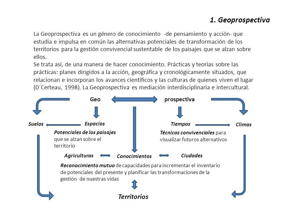 1. Geoprospectiva La Geoprospectiva es un género de conocimiento -de pensamiento y acción- que estudia e impulsa en común las alternativas potenciales