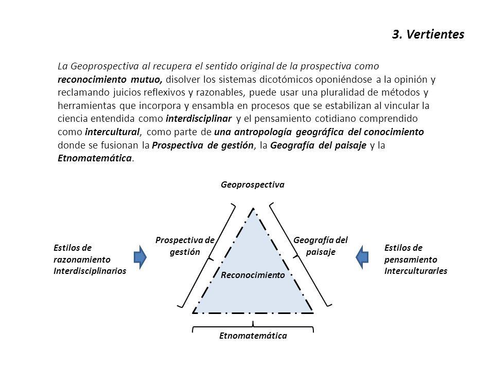 3. Vertientes La Geoprospectiva al recupera el sentido original de la prospectiva como reconocimiento mutuo, disolver los sistemas dicotómicos oponién