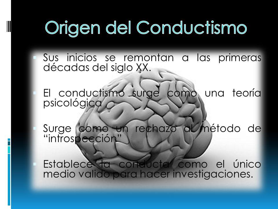 Sus inicios se remontan a las primeras décadas del siglo XX. El conductismo surge como una teoría psicológica Surge como un rechazo al método de intro