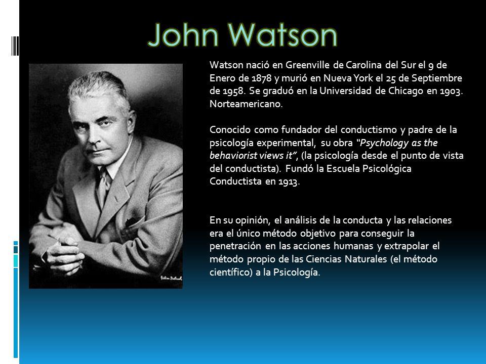 Watson nació en Greenville de Carolina del Sur el 9 de Enero de 1878 y murió en Nueva York el 25 de Septiembre de 1958. Se graduó en la Universidad de