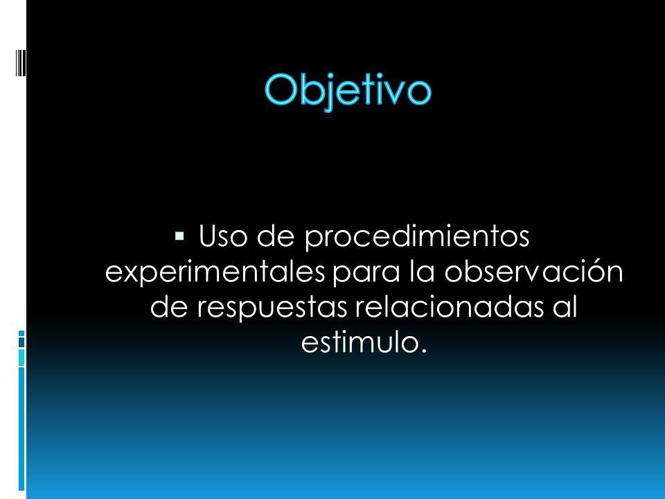 Uso de procedimientos experimentales para la observación de respuestas relacionadas al estimulo.