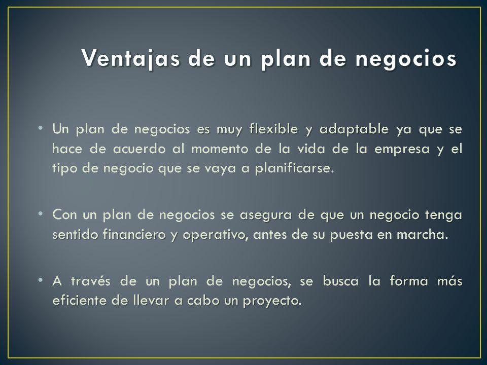 es muy flexible y adaptable Un plan de negocios es muy flexible y adaptable ya que se hace de acuerdo al momento de la vida de la empresa y el tipo de negocio que se vaya a planificarse.