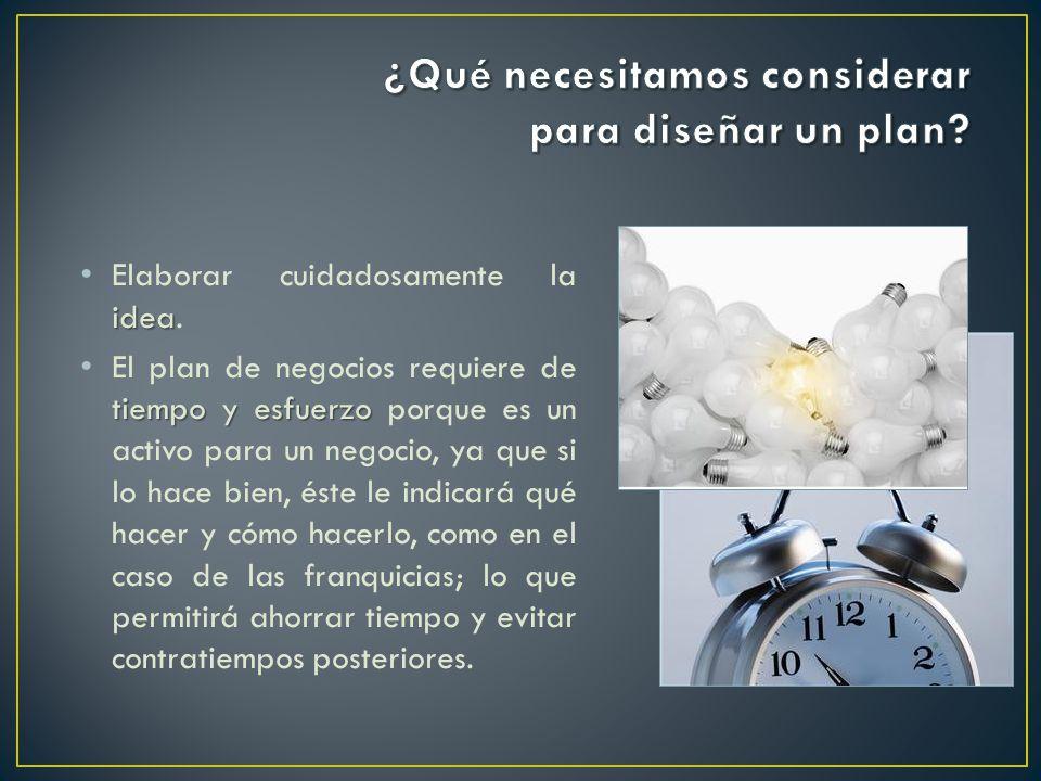 idea Elaborar cuidadosamente la idea. tiempo y esfuerzo El plan de negocios requiere de tiempo y esfuerzo porque es un activo para un negocio, ya que