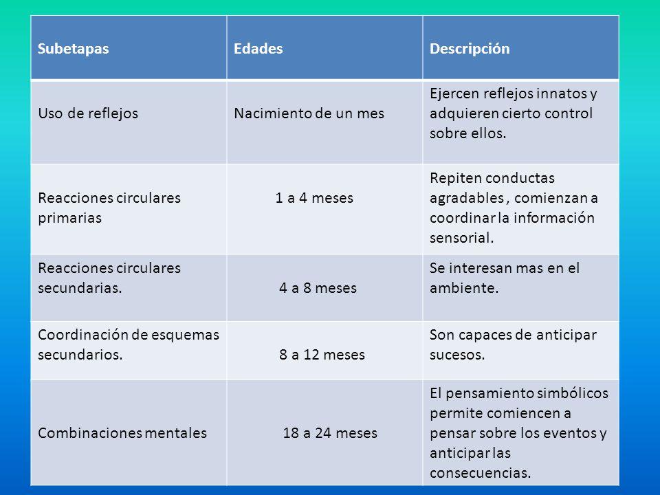 SubetapasEdadesDescripción Uso de reflejosNacimiento de un mes Ejercen reflejos innatos y adquieren cierto control sobre ellos. Reacciones circulares