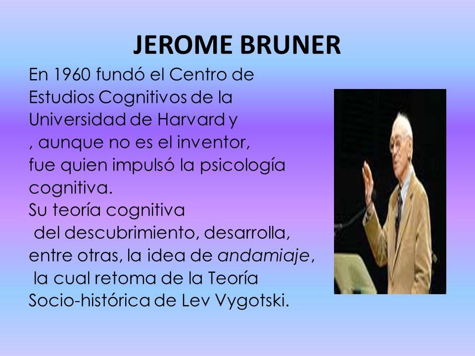 JEROME BRUNER En 1960 fundó el Centro de Estudios Cognitivos de la Universidad de Harvard y, aunque no es el inventor, fue quien impulsó la psicología cognitiva.