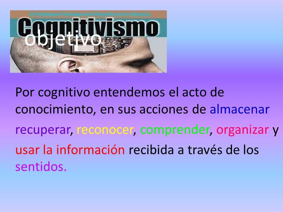 objetivo Por cognitivo entendemos el acto de conocimiento, en sus acciones de almacenar recuperar, reconocer, comprender, organizar y usar la información recibida a través de los sentidos.