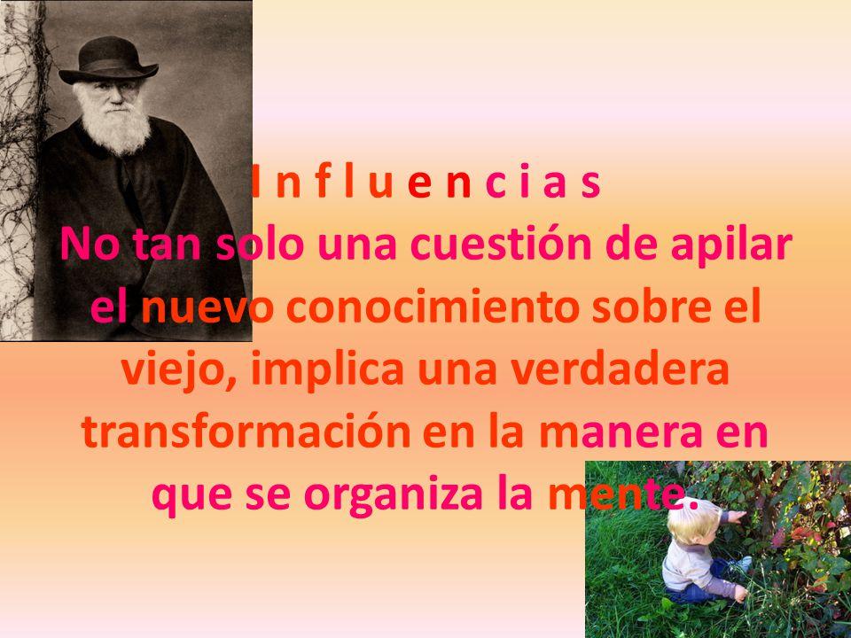 I n f l u e n c i a s No tan solo una cuestión de apilar el nuevo conocimiento sobre el viejo, implica una verdadera transformación en la manera en qu