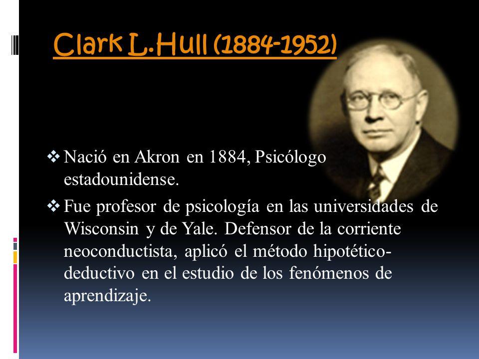 Clark L.Hull (1884-1952) Nació en Akron en 1884, Psicólogo estadounidense. Fue profesor de psicología en las universidades de Wisconsin y de Yale. Def
