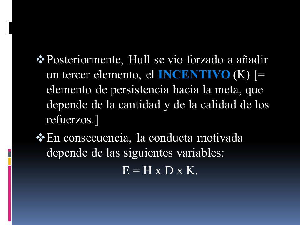 Posteriormente, Hull se vio forzado a añadir un tercer elemento, el INCENTIVO (K) [= elemento de persistencia hacia la meta, que depende de la cantida