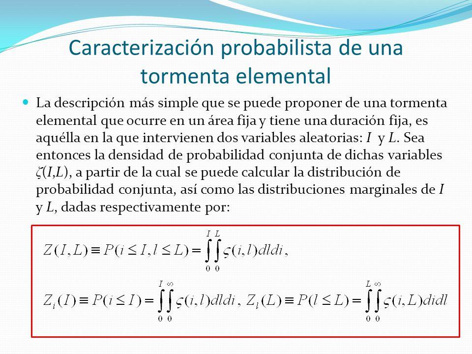 Caracterización probabilista de una tormenta elemental La descripción más simple que se puede proponer de una tormenta elemental que ocurre en un área