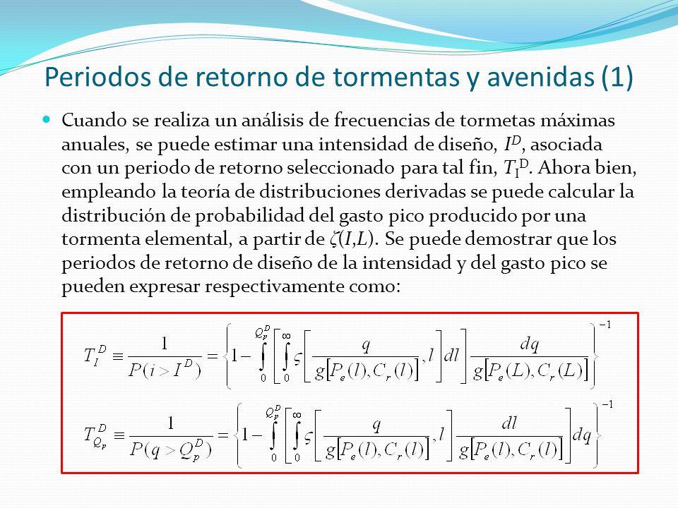 Periodos de retorno de tormentas y avenidas (1) Cuando se realiza un análisis de frecuencias de tormetas máximas anuales, se puede estimar una intensi