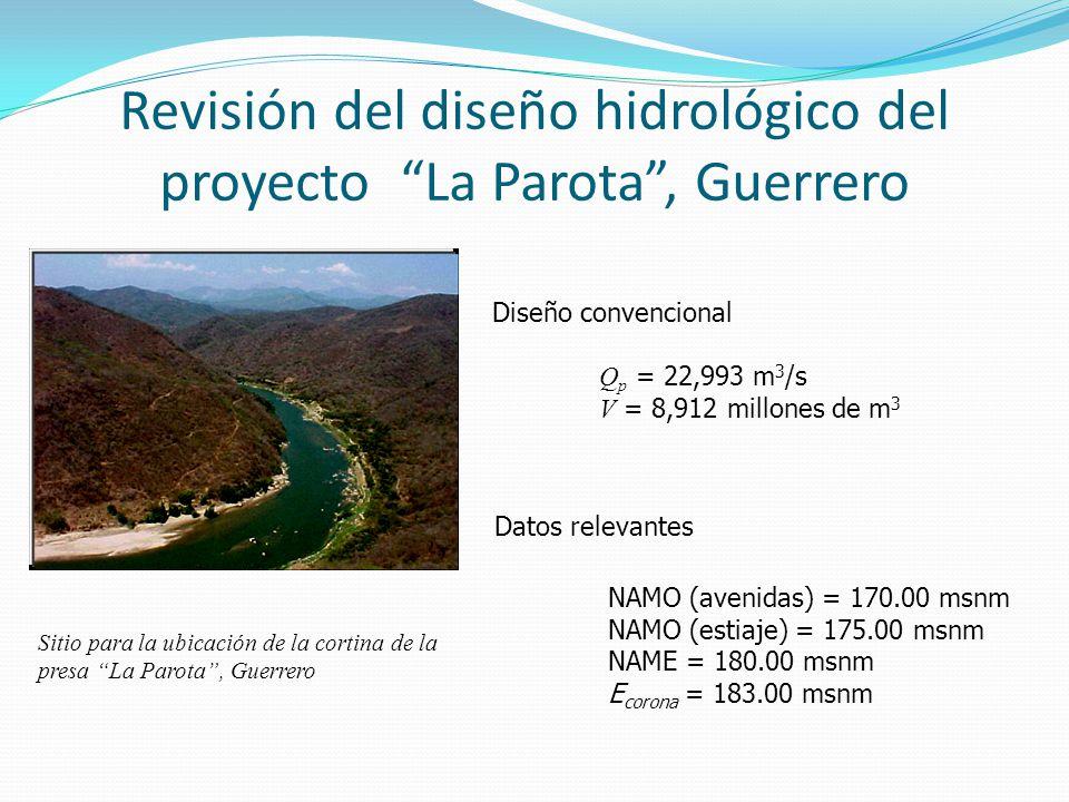 Revisión del diseño hidrológico del proyecto La Parota, Guerrero Diseño convencional Q p = 22,993 m 3 /s V = 8,912 millones de m 3 Datos relevantes NA