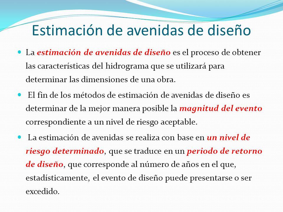 La estimación de avenidas de diseño es el proceso de obtener las características del hidrograma que se utilizará para determinar las dimensiones de un