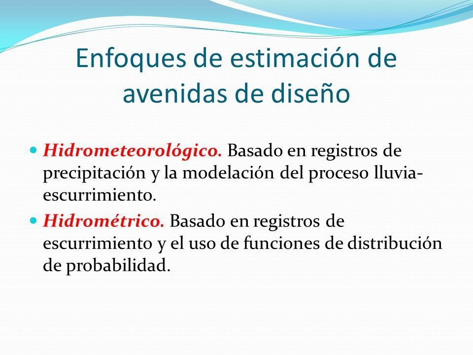Enfoques de estimación de avenidas de diseño Hidrometeorológico. Basado en registros de precipitación y la modelación del proceso lluvia- escurrimient