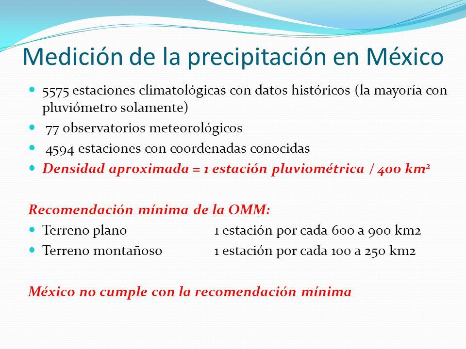Medición de la precipitación en México 5575 estaciones climatológicas con datos históricos (la mayoría con pluviómetro solamente) 77 observatorios met
