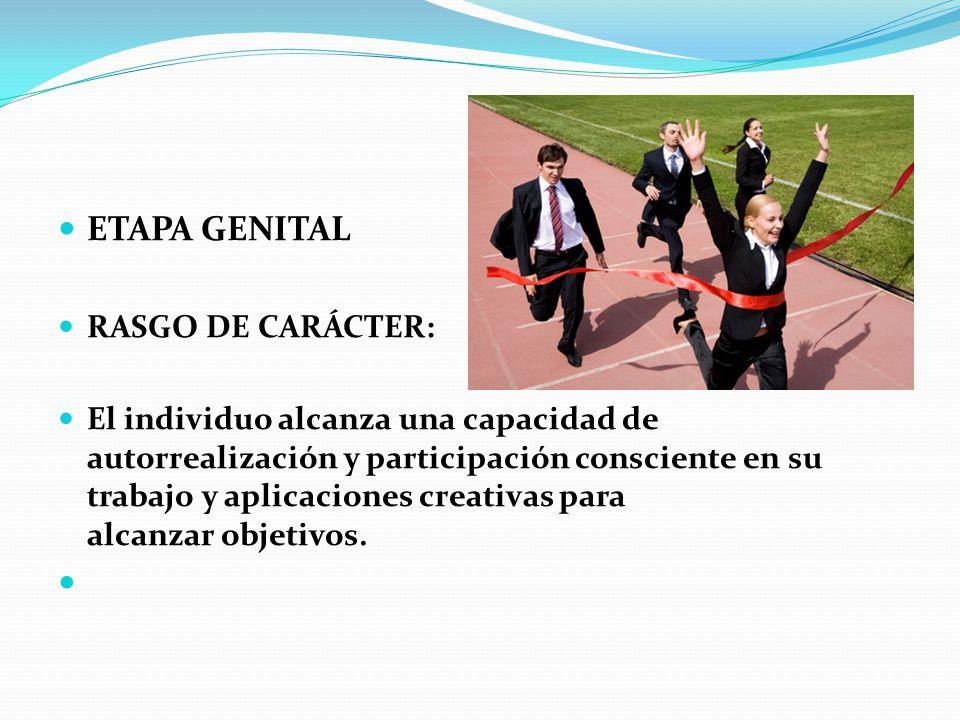 ETAPA GENITAL RASGO DE CARÁCTER: El individuo alcanza una capacidad de autorrealización y participación consciente en su trabajo y aplicaciones creati