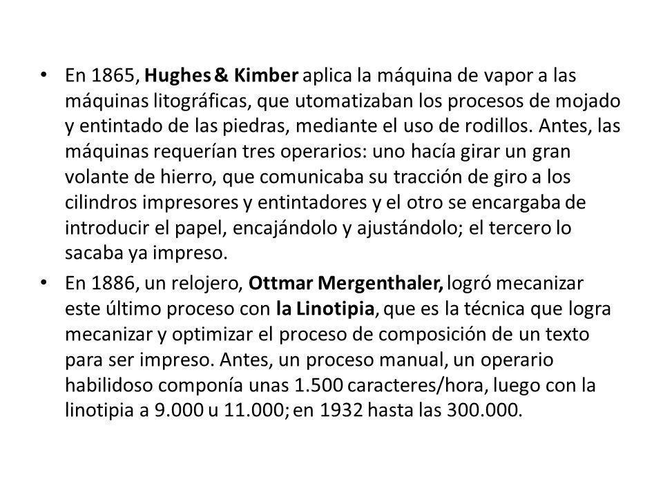 En 1865, Hughes & Kimber aplica la máquina de vapor a las máquinas litográficas, que utomatizaban los procesos de mojado y entintado de las piedras, m