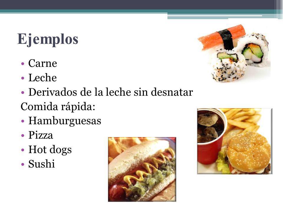 Ejemplos Carne Leche Derivados de la leche sin desnatar Comida rápida: Hamburguesas Pizza Hot dogs Sushi