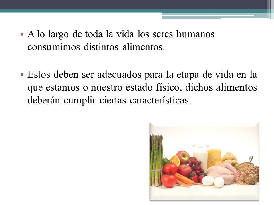 A lo largo de toda la vida los seres humanos consumimos distintos alimentos. Estos deben ser adecuados para la etapa de vida en la que estamos o nuest